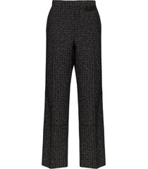 nulabel stud detail high-waisted trousers - black