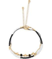 rachel rachel roy gold-tone black & white bead charm anklet