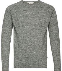 6192628, knit - stamos melange stickad tröja m. rund krage grå solid