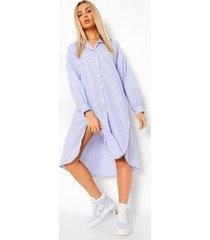 gestreepte super oversized blouse jurk met knoop, blue