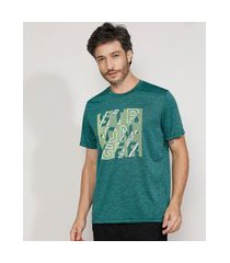 "camiseta masculina esportiva ace stronger"" manga curta decote careca verde escuro"""