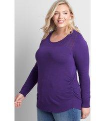 lane bryant women's ruched-side sweater - pointelle 22/24 acai purple