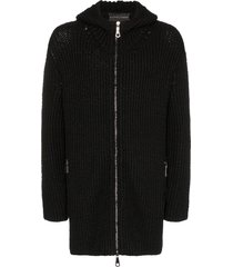 martin diment long line zip-front knit hoodie - black