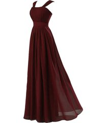 kivary women's long chiffon simple cap sleeves corset prom bridesmaid dresses bu