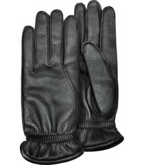 pineider designer men's gloves, men's black deerskin leather gloves w/ cashmere lining