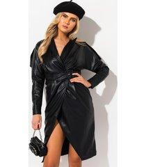 akira own me vegan leather midi dress