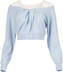 illusion tulle twist cashmere pullover top