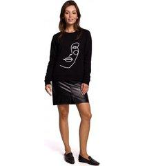 sweater be b167 pullover top met print vooraan - zwart