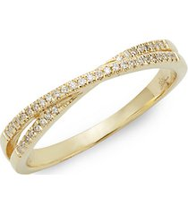 14k gold diamond crisscross ring