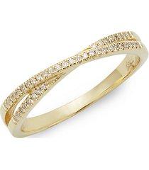 14k gold diamond crisscross ring