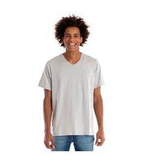camiseta decote v manga curta cinza claro