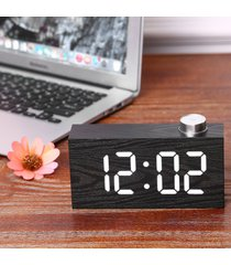 reloj digital/despertador/ alarma led madera con sensor-