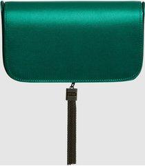 reiss vienna - satin clutch bag in dark green, womens