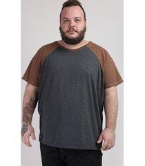 camiseta masculina plus size básica raglan manga curta gola careca cinza mescla escuro