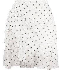 balmain polka-dot ruffled mini skirt - white