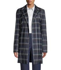 lafayette 148 new york kidman windowpane virgin wool-blend jacket - ink multi - size xs