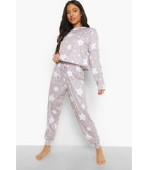 petite sterrenprint pyjama set met open schouders, grey marl