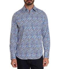 robert graham men's classic-fit ludwig geometric print sport shirt - navy - size m