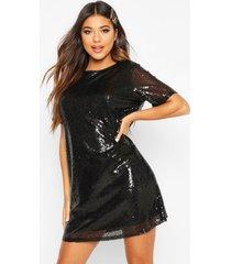 boutique sequin t-shirt dress, black