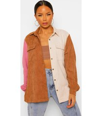 corduroy colour block blouse, camel