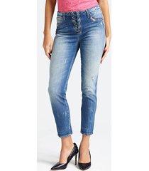 jeansy z gorsetowymi wstawkami i przetarciami