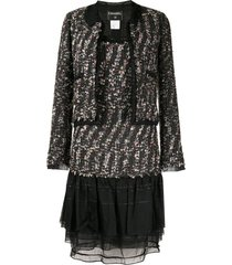 chanel pre-owned ruffled details tweed jacket and dress set - black