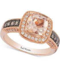 le vian peach morganite (1 ct. t.w.) & diamond (1/3 ct. t.w.) ring in 14k rose gold