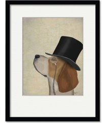 "courtside market beagle, formal hound and hat 20"" x 24"" framed and matted art"