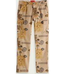 scotch & soda loose fit print cargo trousers