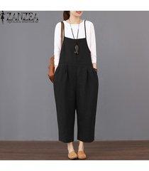 zanzea womens strappy dungaree bib cargo pants jumpsuit largo pantalones overol -negro