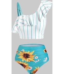 striped sunflower print one shoulder tummy control tankini swimwear