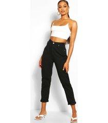 distressed boyfriend jeans met middelhoge taille, zwart
