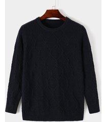 suéter ajustado de punto con cuello redondo de color sólido informal para hombre