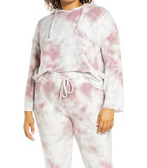 plus size women's adyson parker tie dye hoodie, size 1x - purple