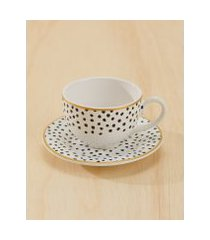 amaro feminino conjunto c/ 6 xícaras de chá c/ pires polka dots, polka dots