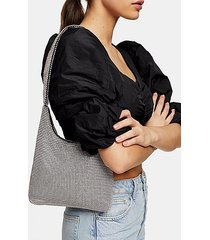 debbie silver diamante shoulder bag - silver