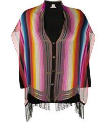 hermès 2000 pre-owned striped silk cardigan - black