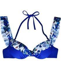 bikini sostén con vuelos estampado azul samia