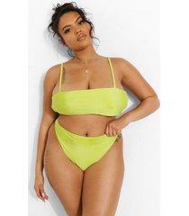 plus strapless tropicana bikini top met bandjes, lime