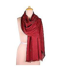 viscose shawl, 'cranberry glimmer' (india)