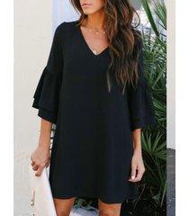 negro cuello de pico mangas con volantes mini vestido