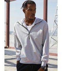 basics koyye hombres color sólido media cremallera pullover hoodie