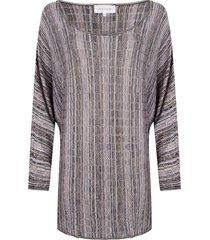 jacky luxury wijde dunne vleermuismouwen trui met strepen en lurex