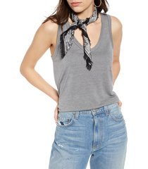 women's treasure & bond print square silk scarf, size one size - black