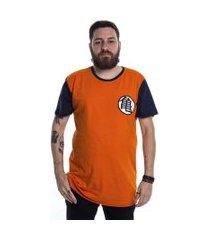 camiseta dupla face goku uniforme laranja