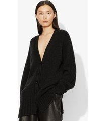 proenza schouler cashmere traveling rib knit cardigan charcoal melange/grey m