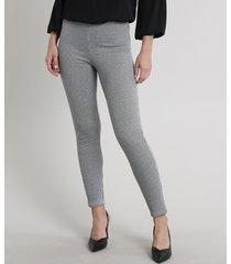 calça legging feminina em jacquard estampada pied de poule off white