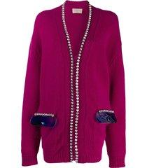 christopher kane crystal and gel cardigan - pink