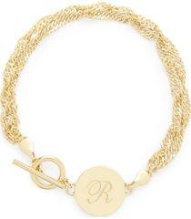 brook & york 14k gold plated sophie initial toggle bracelet