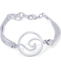 silver plated round wave bracelet